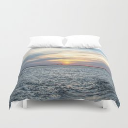 Sunset at Long Beach Island Duvet Cover
