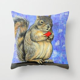 Cheeky Squirrel Painting Throw Pillow