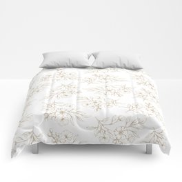 Shabby vintage pastel brown white elegant floral Comforters