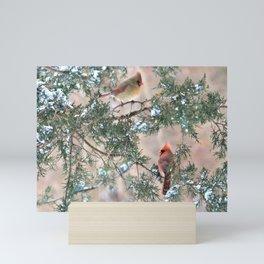 Winter Pair Cardinals (sq) Mini Art Print