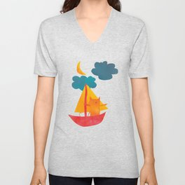 I Set Sea Under the Moonlight - A Cat and Boat and Moon. Unisex V-Neck