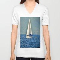 sailboat V-neck T-shirts featuring Sailboat by Joe Mullikin