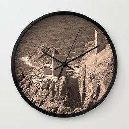 The Crowns Engine Houses Sepia Wall Clock