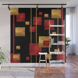 Red and Gold Foil Blocks Wall Mural