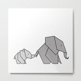 Origami Baby Elephant Metal Print