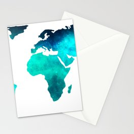 World Map Space Galaxy Stars in Turquoise Stationery Cards
