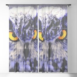 owl look digital painting reacdb Sheer Curtain
