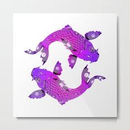 Koi Carp Purple Fish Art Metal Print