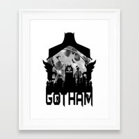 gotham Framed Art Prints featuring Gotham by Vitalitee