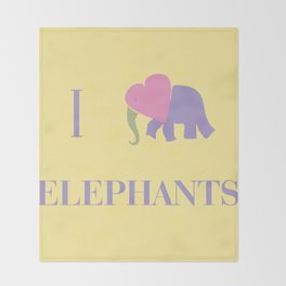 I Heart Elephants Throw Blanket