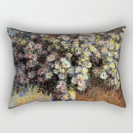 Classical Masterpiece 'Asters' by Claude Monet Rectangular Pillow