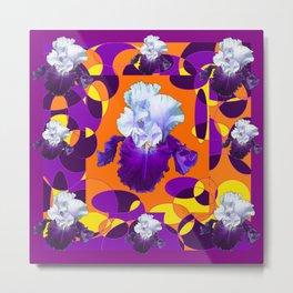 #2Colorful Modern Purple White Iris Orange Yellow Black Design Metal Print