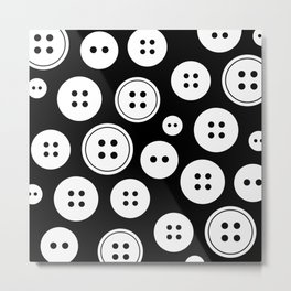 Black and White Buttons Pattern Metal Print