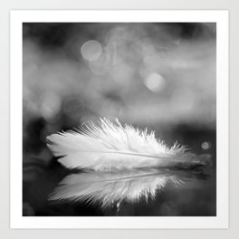 White Feather In Black And White Bokeh Background #decor #society6 #buyart Art Print