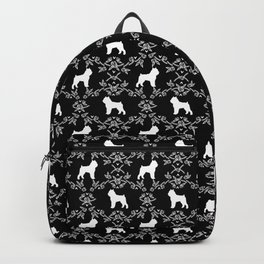 Brussels Griffon floral silhouettes dog breed black and white gifts Backpack