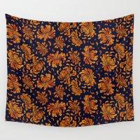 korean Wall Tapestries featuring Korean Chrysanthemum - Orange by 1004kim
