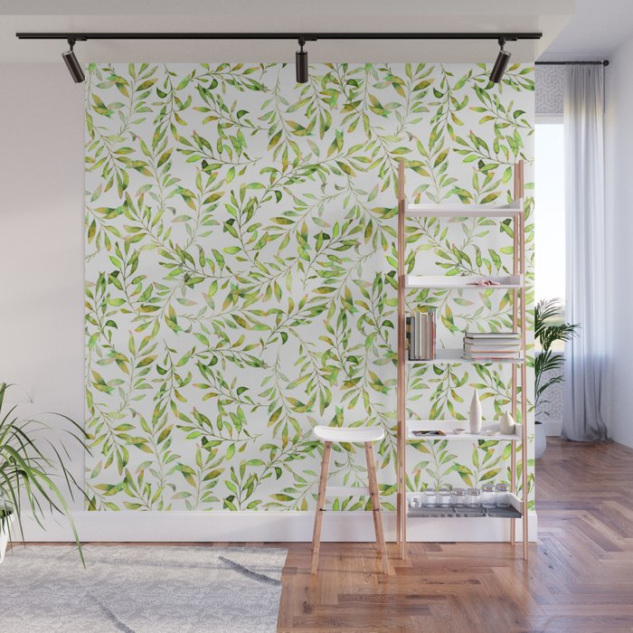 Simple And Cute Green Watercolor Leaves And Branches Real Watercolor Painting Wall Mural By Ionovamargarita Society6
