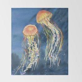 Dancing of Jellyfish Throw Blanket