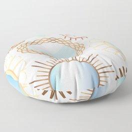 Retro Rattan Midcentury Mirrors in Natural Floor Pillow
