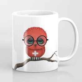 Baby Owl with Glasses and Swiss Flag Coffee Mug