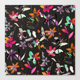 multicolored ink flowers Canvas Print