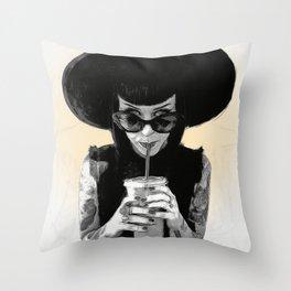 Slurp Illustration Throw Pillow