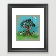 Playing with Buttons and Wool Framed Art Print