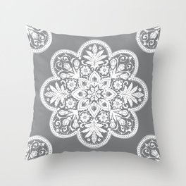 Floral Doily Pattern | Grey and White Throw Pillow