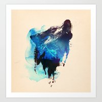 alone Art Prints featuring Alone as a wolf by Robert Farkas