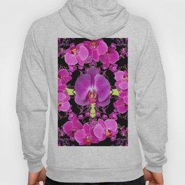 Purple  Butterfly Orchids Pattern Fantasy Yellow Black Art Hoody