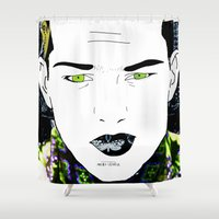 gangster Shower Curtains featuring I can be an Angel or a Gangster. by Marco Cherfêm