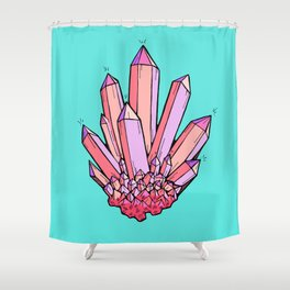 Crystal Cluster- Pink & Mint Shower Curtain