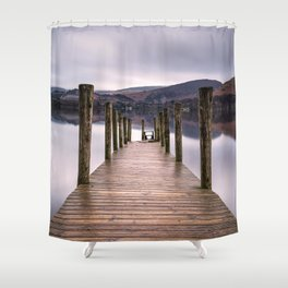 Lake View with Wooden Pier Shower Curtain