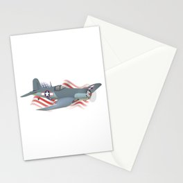 Corsair WWII Airplane with American Flag Stationery Cards