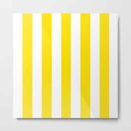 Vivid yellow -  solid color - white vertical lines pattern Metal Print