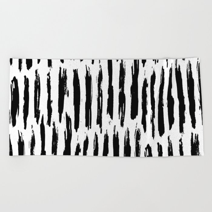 Vertical Dash Black and White Paint Stripes Beach Towel
