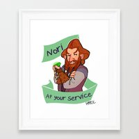 nori Framed Art Prints featuring Nori at Your Service  by Hattie Hedgehog