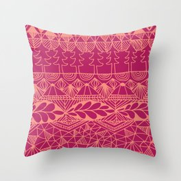 Mountain Tapestry in Sunset Pink Throw Pillow