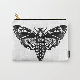Moth linocut black and white minimal modern art print square moths nature Carry-All Pouch