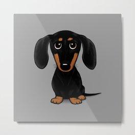 Black and Tan Dachshund   Cute Cartoon Wiener Dog Metal Print