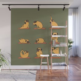 Pug Yoga In Khaki Wall Mural