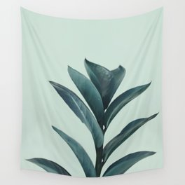Teal Mint Plant Wall Tapestry