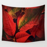 plant Wall Tapestries featuring Christmas Plant by Dorothy Pinder