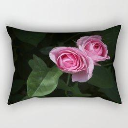 Pink and Dark Green Roses on Black Rectangular Pillow