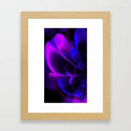 Stylized Half Flower Indigo Framed Art Print