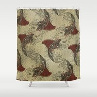 school Shower Curtains featuring shark fin goldfish school by Vin Zzep