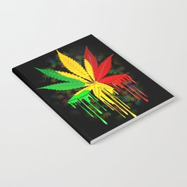Marijuana Leaf Rasta Colors Dripping Paint Notebook