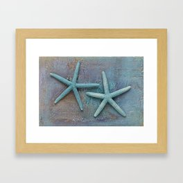 Turquoise Starfish on textured Background Framed Art Print