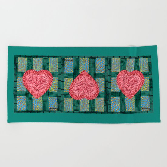Teal and Pink Energy Heart Beach Towel