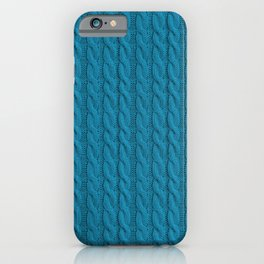 Teal  Blue Cable Knit Sweater knitting design iPhone Case